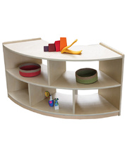 Birch Low Shelf Unit 60cmH - Curved with Open Back