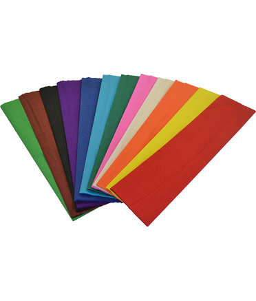 Crepe Paper 2.5m x 500mm - Assorted Colours 12pk