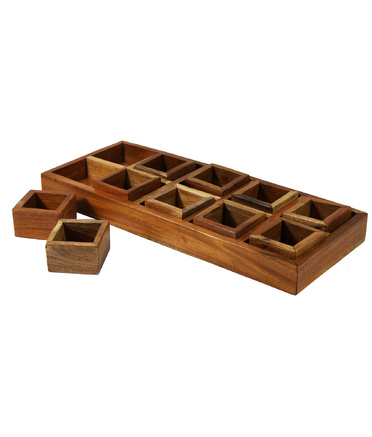 Mahogany Sorting Tray - 10 Compartments & Boxes