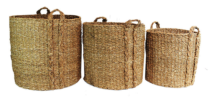 Giant Seagrass Baskets - Round 3pcs