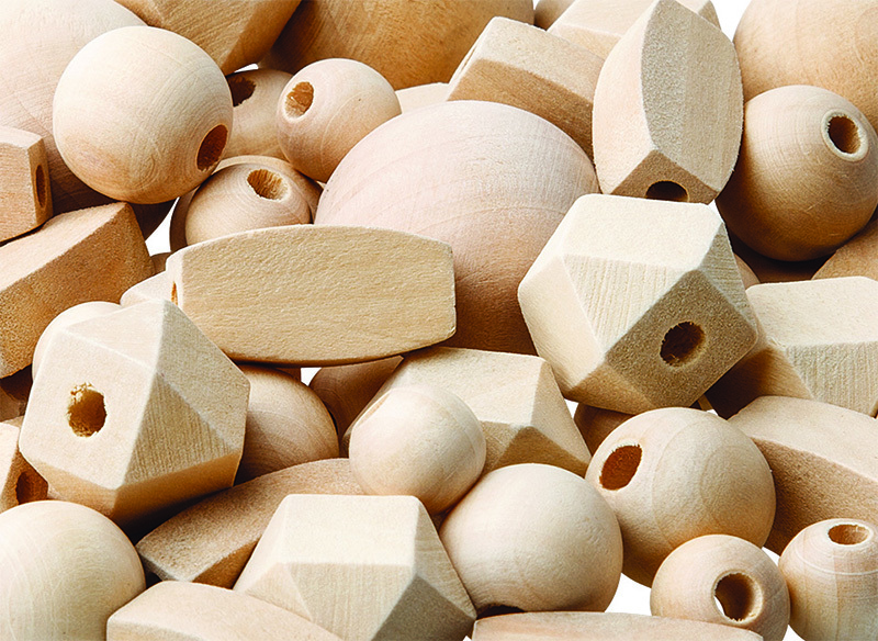 Natural Wooden Beads Assorted Shapes - 92pk