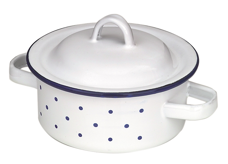 Gluckskafer Enamel Cookware - Low Pot & Lid 12cm