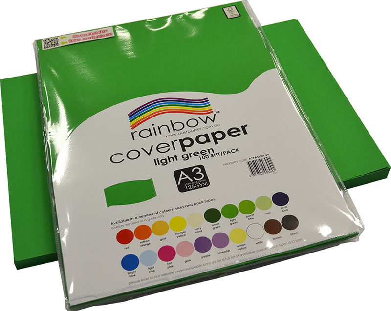 Rainbow Cover Paper 125gsm A3 100pk - Light Green
