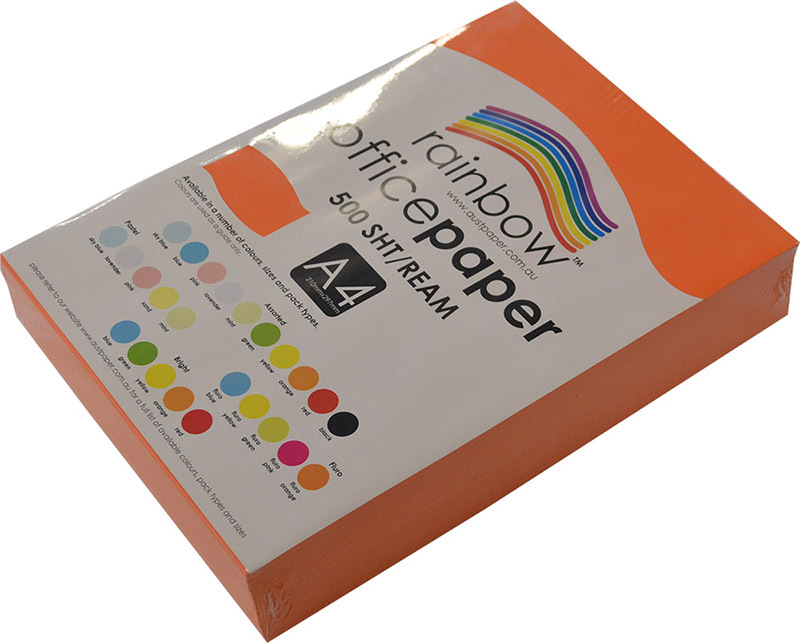 Rainbow Office/Copy Solid Colour Paper - 80gsm A4 Ream Orange