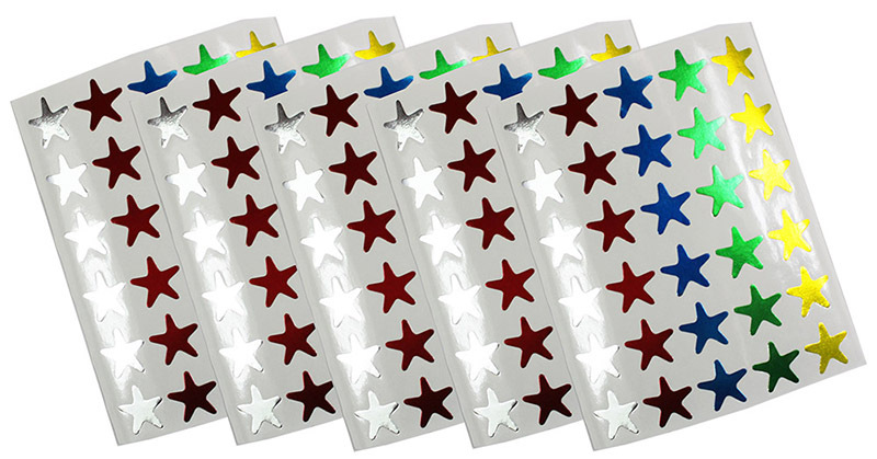 Permanent Star Stickers 14mm Flat 150pk - Assorted