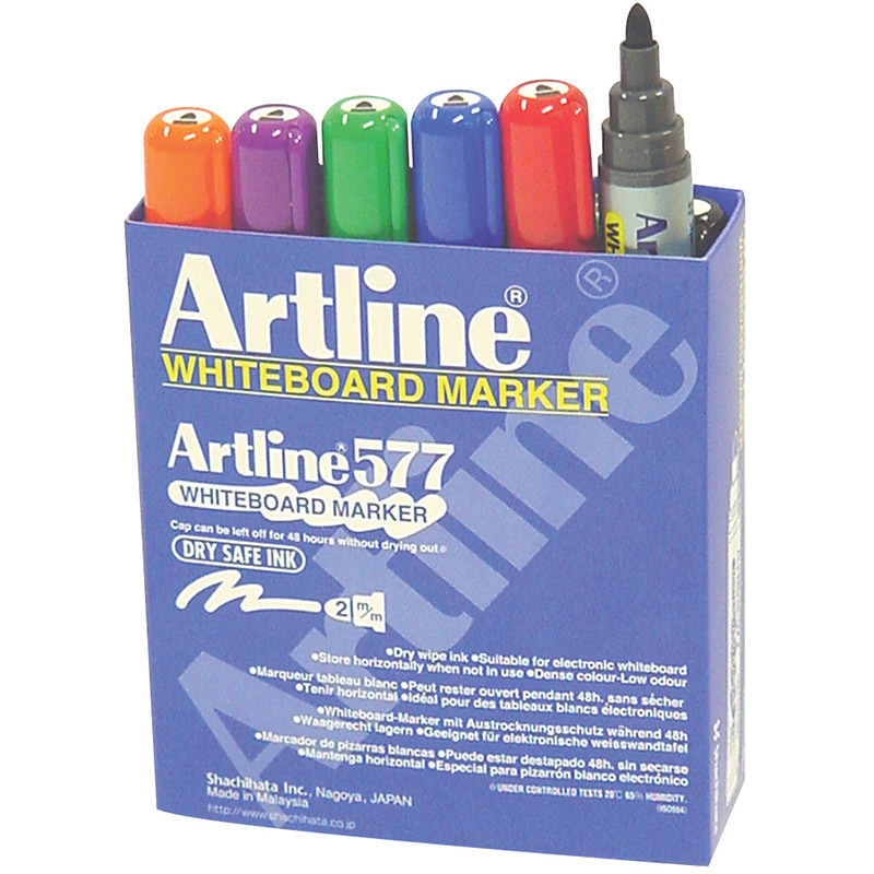 Artline 577 Bullet Whiteboard Marker - Assorted Colours 6pk