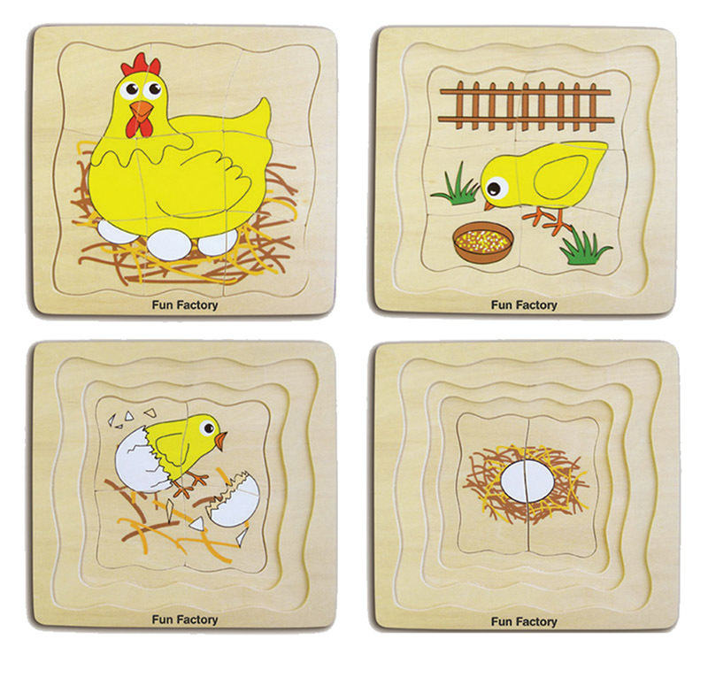 Layered Life Cycle Puzzle - Chicken 4 Layers 21pcs 19cm x 18cm