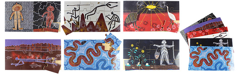 Indigenous Dreamtime Floor Puzzle Set - Set of 6 (With Free Poster Kit)
