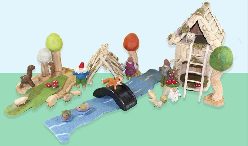 Natural Woodland & House Scene - Medium Set 27pcs