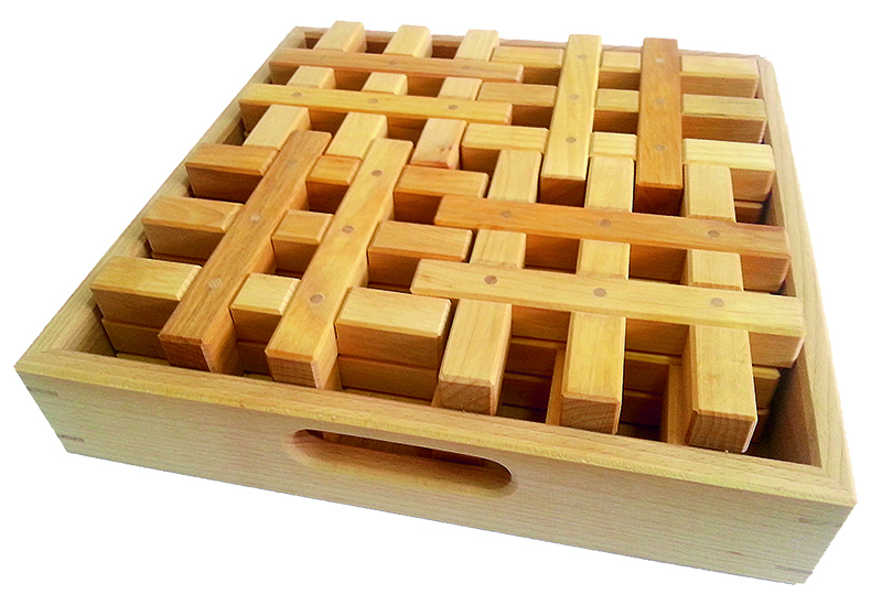 Bauspiel Stacking Grid Blocks - Natural 12pcs