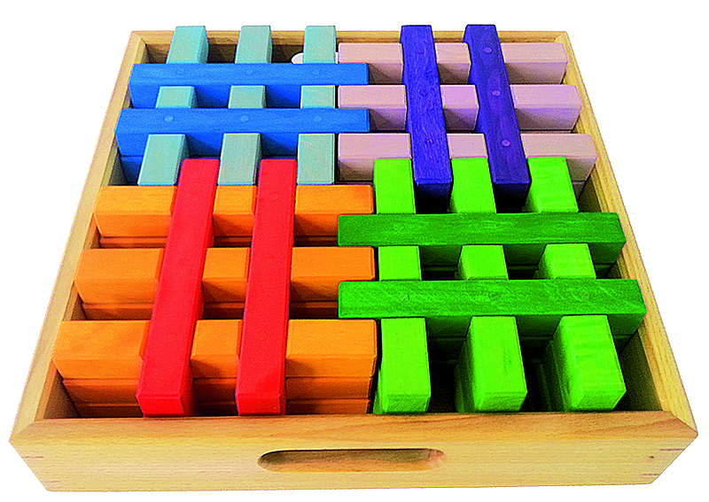 Bauspiel Stacking Grid Blocks - Coloured 12pcs