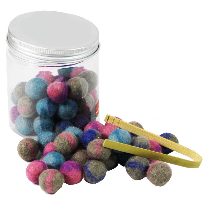 *Felt Balls Sorting Set & Bamboo Tongs - In Portable Play Jar