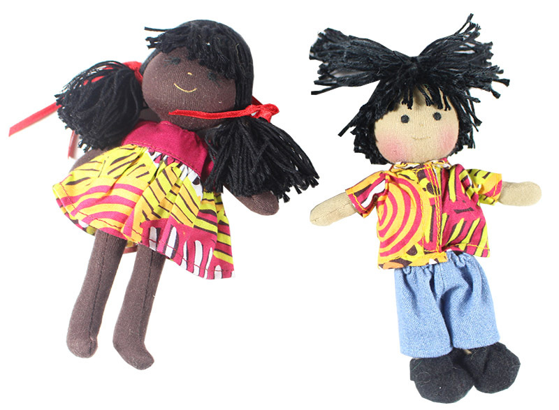 Indigenous Boy & Girl Mini Dolls 16cm - Set of 2 Bush Melon Design