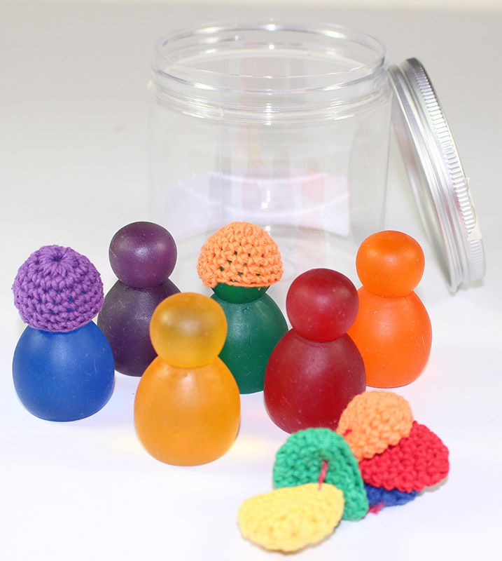 Rainbow Resin Portable Play Jar - People with Crochet Hats 12pcs