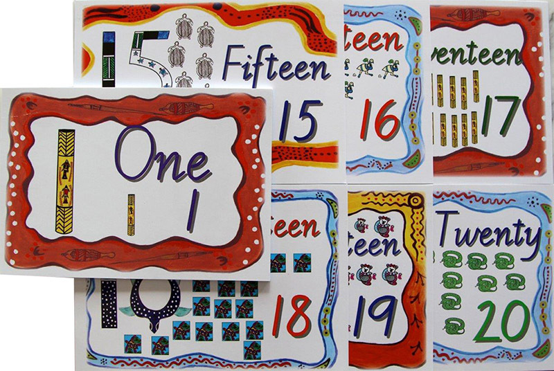 Aboriginal 1 to 20 Counting Cards - 20pcs