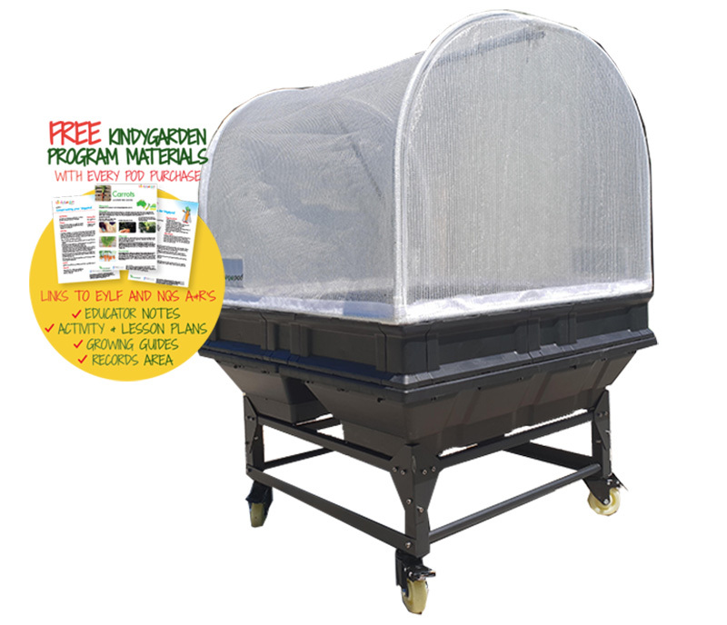 Vegepod Raised Garden Bed with Garden Cover & Low Trolley - Medium 1 x 1m