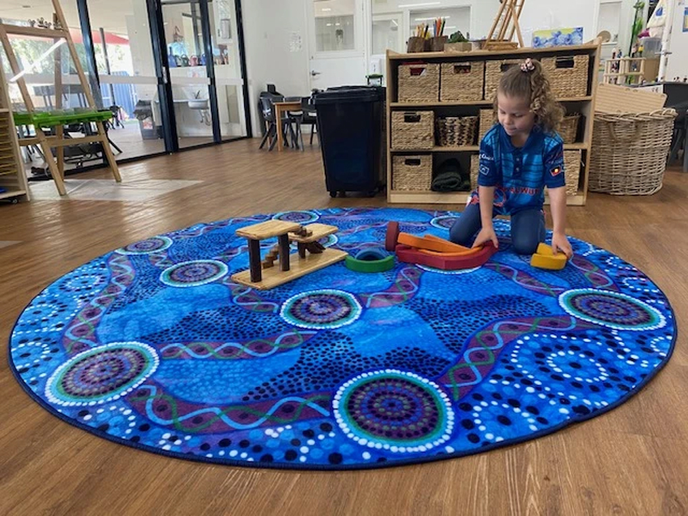 EMRO Indigenous Designed Round Rug - Waterways 2m