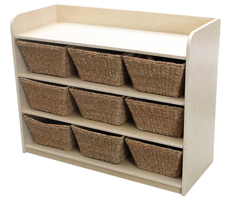 Birch Standard Storage Unit - With 9 Natural Seagrass Baskets