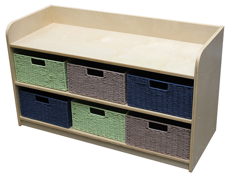 Birch Low Storage Unit - With 6 Rope Baskets in 3 colours