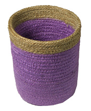 Natural Jute Mini Basket - Purple