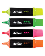 Artline Vivix Highlighter - Assorted 4pk