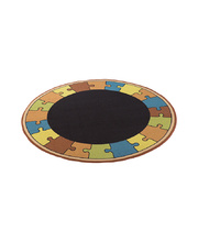 Natural Seating Carpet Mat - Circle With Puzzle Border 2 x 2m