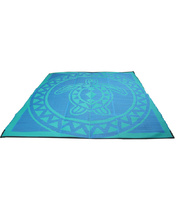 "Recycled Large Mat Torres Strait Island Design - ""Turtle Circle"" Blue/Green"