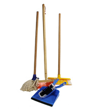 Children's 5pce Cleaning Set - Mop, Brooms, Dust Pan & Brush